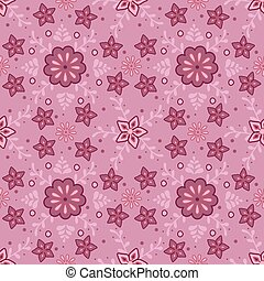 Vector seamless pattern with flower ornament on pink background