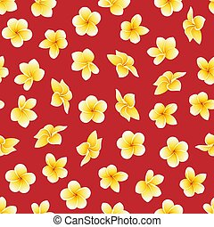 Vector seamless pattern with flower of Plumeria or Frangipani on scarlet red