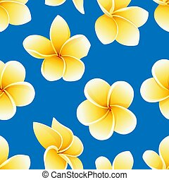 Vector seamless pattern with flower of Plumeria or Frangipani on the blue