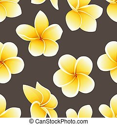 Vector seamless pattern with flower of Plumeria or Frangipani on the brown