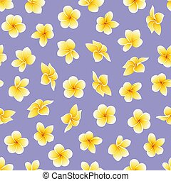 Vector seamless pattern with flower of Plumeria or Frangipani on the violaceous
