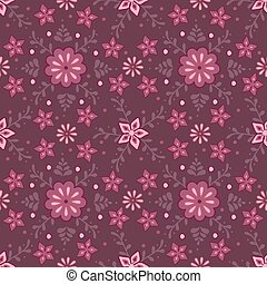 Vector seamless pattern with flower ornament on dark background