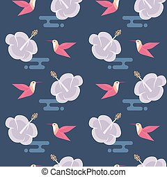 Vector seamless pattern with flowers and hummingbirds