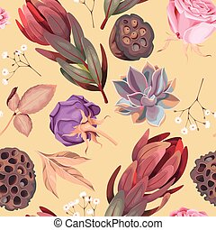 Vector seamless pattern with flowers and succulent - Vector ...