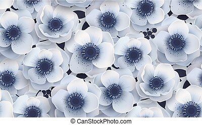 Vector seamless pattern with flowers anemones.