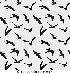 Vector seamless pattern with flying birds