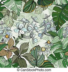 Seamless pattern with foliage, flowers and leaves.