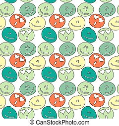 vector seamless pattern with freehand drawing emoticons.