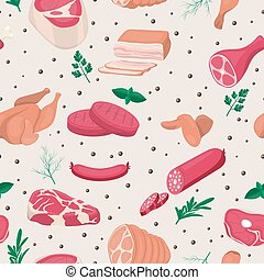 Vector Seamless Pattern with Fresh Pieces of Raw Meat, ...