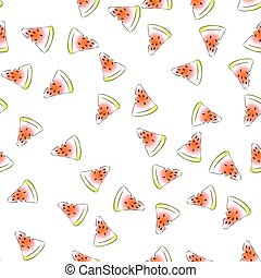 Vector seamless pattern with fresh watermelon slices on a...