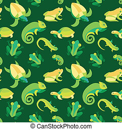 Vector seamless pattern with frogs and reptiles - abstract...