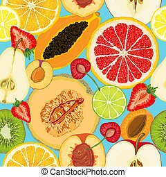 Vector seamless pattern with fruit slices. Apple, pear, peach, apricot, plum, cherry, kiwi, papaya, orange, lemon, lime, grapefruit, melon, strawberry on a blue background