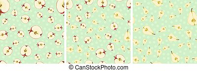Vector seamless pattern with fruit slices. Apples and pears on a green-blue polka dots background