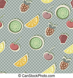 vector seamless pattern with fruits and berries