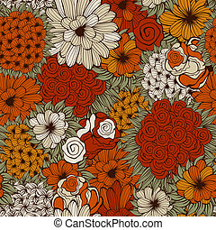 Vector Seamless Pattern with Funky Flowers