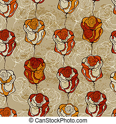 Vector Seamless Pattern with Funky Roses