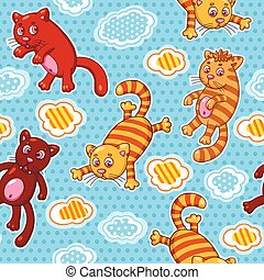 Vector seamless pattern with funny cartoon cats.
