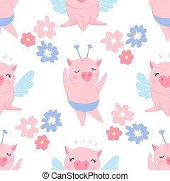 Vector seamless pattern with funny pigs. Pig background isolated on white.