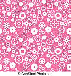 Vector seamless pattern with gears on pink background