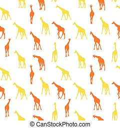 Vector seamless pattern with giraffes.