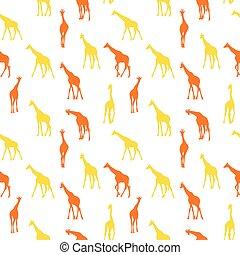 Vector seamless pattern with giraffes.