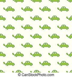 Vector seamless pattern with green cartoon car.