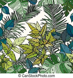 Seamless pattern with green foliage, branches and leaves