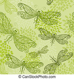 vector seamless pattern with green dragonflies and flowers