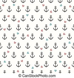 Vector seamless pattern with grey anchors and coloured...