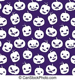 Vector seamless pattern with Halloween pumpkin silhouettes in white color with carved faces on purple background for scrapbook, invitations and textile