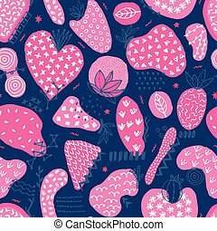 Vector seamless pattern with hand drawn abstract shapes. Spotted and textured figures. Unique design