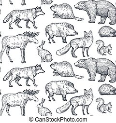 Vector seamless pattern with hand drawn animals of Europe.