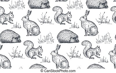 Vector seamless pattern with hand drawn animals.