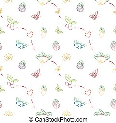 Vector seamless pattern with hand drawn berries