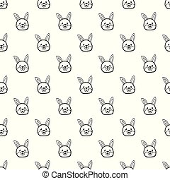 Vector seamless pattern with hand drawn bunny head.