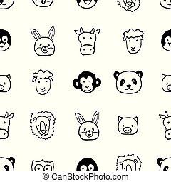 Vector seamless pattern with hand drawn cartoon animals head.