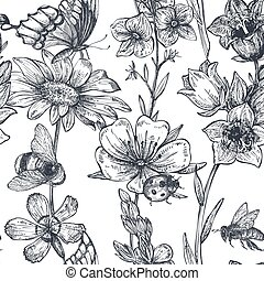 Vector seamless pattern with hand drawn chamomile, wildflowers, herbs, butterflies, bee