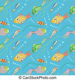 Vector seamless pattern with hand drawn fishes, seaweeds and...
