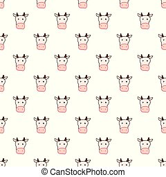 Vector seamless pattern with hand drawn cow head.