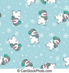 Vector seamless pattern with hand drawn cute snowmen. Beautiful Christmas design