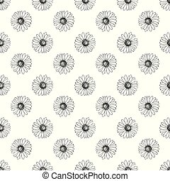 Vector seamless pattern with hand drawn daisies.