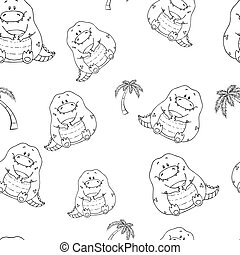 Vector seamless pattern with hand-drawn funny cute fat animals. Silhouettes of animals on a white background. Fun texture with crocodile. Design concept for children print