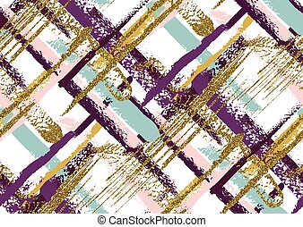 Vector seamless pattern with hand drawn gold glitter textured brush strokes