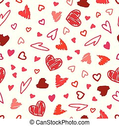 Vector seamless pattern with hand drawn hearts.