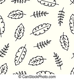 Vector seamless pattern with hand drawn leaves.