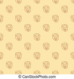 Vector seamless pattern with hand drawn lion head.