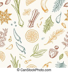 Vector seamless pattern with hand drawn medical herbs and spices.