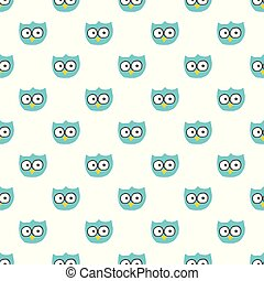 Vector seamless pattern with hand drawn owl head.