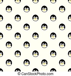 Vector seamless pattern with hand drawn penguin head.