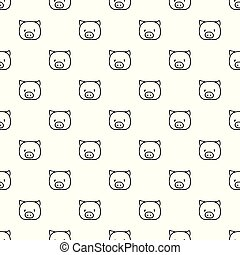 Vector seamless pattern with hand drawn pig head.